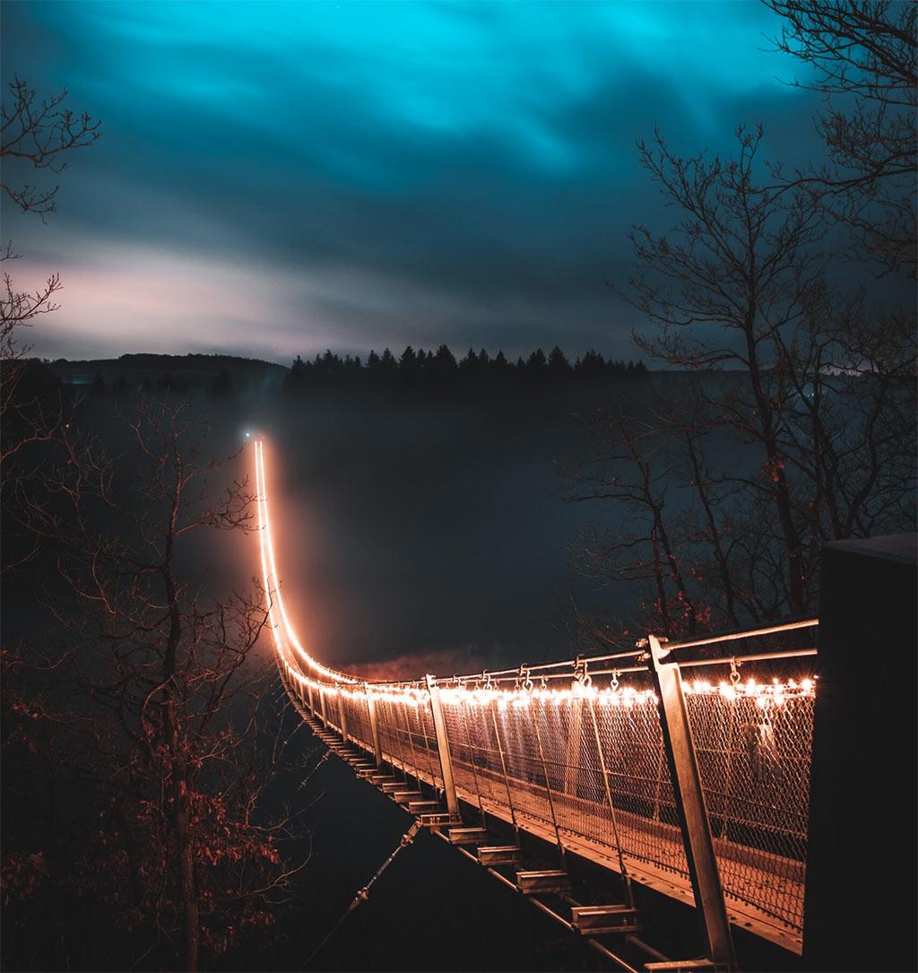 Bridge lit at night